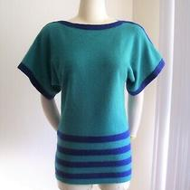 Vtg 80's Christian Dior Green Navy Boatneck Angora Sweater Top Small Photo