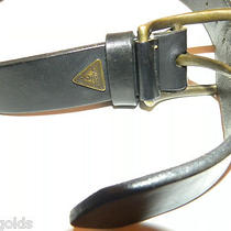 Vtg 80's Guess Usa Black Leather Belt Chunky/thick/large Brass Buckle Women's S  Photo