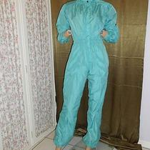 Vtg 80's New Wave Techno Turq/aqua Nylon Jumpsuit Space Age Parachute S Photo