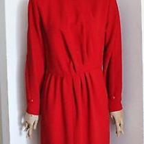 Vtg 80's Nina Ricci Haute Couture Red Wool Crepe Dress Christmas Holiday Photo