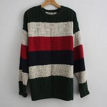 Vtg 80s 90s American Eagle Outfitters Color Block Striped Cable Knit Sweater Men Photo