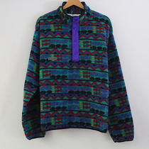 Vtg 80s 90s Columbia Usa Aztec Indian Print Fleece Jacket Mens L Radial Sleeve Photo
