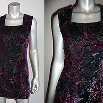 Vtg 80s/90s Rampage Velvet Metallic Floral Party Club Goth Grunge Dress Xs/s Photo