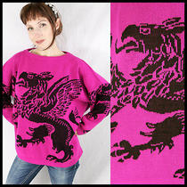 Vtg 80s Bold Mythological Griffin Lion Eagle Oversized Sweater S M L Gryffindor Photo