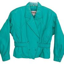 Vtg 80s Chia Leather Retro Cropped Coat Puffy Bomber Jacket Aqua Green Womens M Photo