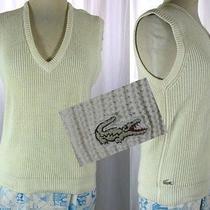 Vtg 80s Izod Lacoste Alligator Tennis Cotton Knit v Neck Sweater Vest M/l Preppy Photo