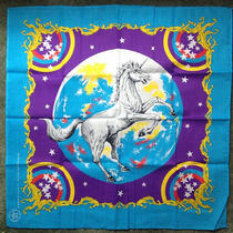 Vtg 80s Nos Mint Fantasy Unicorn Stars Handkerchief Bandana Scarf Usa Wamcraft Photo
