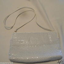 Vtg 80s Whiting & Davis White Metal Mesh Shoulder Bag Purse Hinged Top Closure Photo