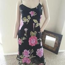 Vtg 90's Betsey Johnson New York Rose Floral Print Grunge Goth Silk Slip Dress S Photo