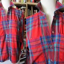 Vtg 90's Grunge Lizwear Liz Claiborne Tiny Fit Cotton Tartan Plaid Blouse Shirt Photo