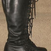 Vtg 90s Aldo Tall Lace Up Black Leather Goth Grunge Punk Combat Boots 39 Photo