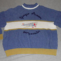 Vtg 90s Armani Young Aviator/plane - Wool Knit Sweater - Embroidered -Ovrsized M Photo