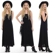 Vtg 90s Black Minimalist Goth Witchy Grunge Draped Gypsy Boho Rayon Maxi Dress M Photo
