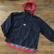 Vtg 90s Chaps Ralph Lauren Blue Pullover Anorak Windbreaker Jacket Hoodie Sz L Photo