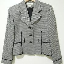 Vtg 90s Christian Dior Houndstooth Print Black White Women's Blazer Jacket Sz 8 Photo