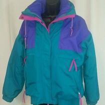Vtg 90s Columbia Neon Radial Sleeve Vamoose 2 Piece Ski Skiing Jacket Women's M Photo