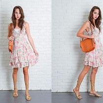 Vtg 90s Cream  Pink Floral Rose Print Dress Grunge Crochet Lace Mini Tiered L  Photo