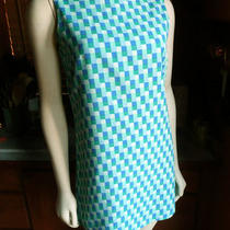 Vtg 90s Does 60s 70s Mod Gap Aqua Blue Op Art Boatneck a Line Mini Dress Xs 2 Photo