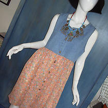 Vtg 90s Express Denim Floral Revival Grunge Romance Babydoll Empire Mini Dress L Photo