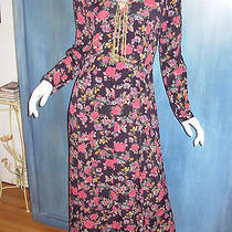 Vtg 90s Express Floral Revival Button Front Rayon Grunge Festival Dress Duster M Photo
