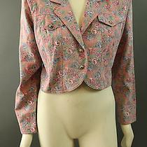 Vtg 90s Floral Grunge Rampage Denim Cropped Jean Jacket L Photo