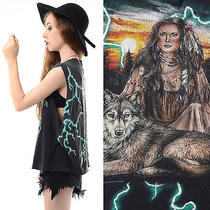 Vtg 90s Grunge Biker Lightning Native American Wolf Deep-Cut Sides Boxy T-Shirt Photo