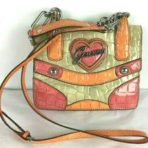Vtg 90s Guess Croc Embossed Faux Leather Two Way Small Shoulder Messenger Bag  Photo