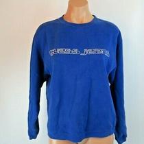 Vtg 90s Guess Jeans Blue Sweatshirt Sweater Shirt Glitter Spell Out Sz S Photo
