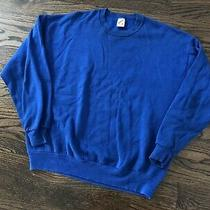 Vtg 90s Jerzees Pullover Crewneck Sweatshirt Blue Casual Blank Made in Usa Sz Xl Photo