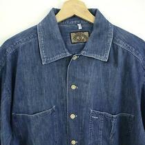 Vtg 90s Mens Armani Jeans Denim Work Shirt Size L Blue Jean Button Simint Usa Photo