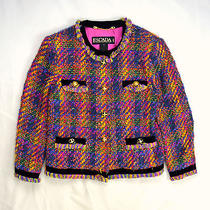 Vtg 90s Multi Color Wool Knit Escada X Margaretha Ley Germany Barn Coat Jacket L Photo