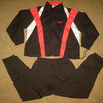 Vtg 90s Reebok Black Mens L Xl Active Windbreaker Track Suit Coat Jacket Pants Photo