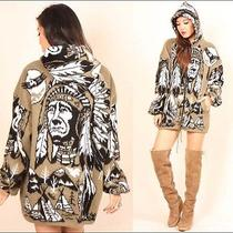 Vtg 90s Softest Native American Knit Indian Chief Buffalo Feathers Hooded Jacket Photo