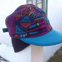 Vtg 90s Winter Patagonia Duckbill Synchilla Printed Fleece Hat Ski Snap-T Cap M Photo