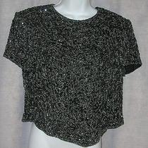 Vtg Adrianna Papell 12p 38 Bust Black Completely Hand Beaded  Silk Evening Top Photo
