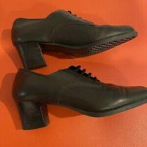 Vtg. Aerosoles Women's Black Leather Vintage Style Pumps Heels Size 8 1/2 M Photo