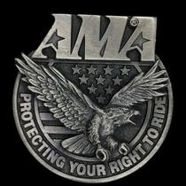 Vtg Ama Protecting Your Right Ride Eagle American Flag Pewter Nos Belt Buckle Photo