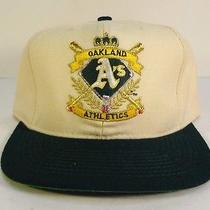 Vtg American Needle Oakland a's Snapback Hat Off White/dark Green Mcgwire Photo