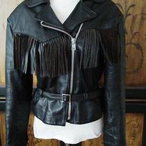 Vtg American Rider Blck Zip Front Belted Fringe Insulated Biker Leather Jacket M Photo