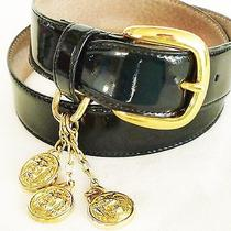 Vtg Anne Klein for Oroton  Black Patent Leather Belt-W Lion Logo Charms-Nwot-S Photo