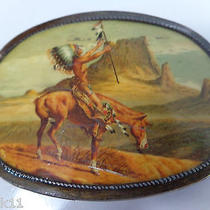 Vtg Appeal to Great Spirit Art Belt Buckle American Indian Chief on Horse Bronze Photo