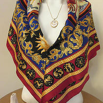 Vtg Avon Scarf Italy 32x 32red Horoscope Astrology Zodiac Sagittarius Necklace Photo