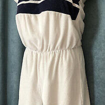 Vtg Avon Terry Cloth Romper Size Large White & Blue Halter Top Shorts Usa Made Photo