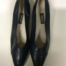 Vtg Bally 11 Navy Lucille Nappa Leather Flex Sole Pointed Toe Pumps Italy Photo