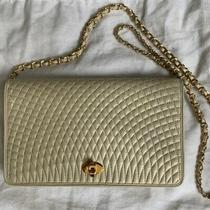 Vtg Bally Cream Ivory White Quilted Gold Chain Purse Bag Free Shipping Photo