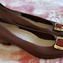 Vtg Bally Italy Women's Brown Leather Stack Heel Pump Carnelian Embellished 10  Photo