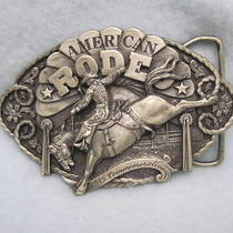 Vtg Belt Buckle  1985 American Rodeo  Commemorative Photo