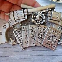 Vtg Belt Buckle .45 Cal Rose Royal Flush Rock Cowboy Approx. 5 X 3 in (G2) Photo