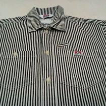 Vtg Ben Davis Strips Down Black White  Zebra Color Headache Looking Casual Shirt Photo
