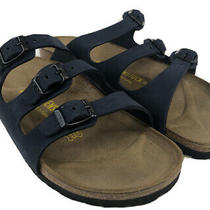 Vtg Birkenstock Sandals Women Size 8 Florida German Leather Navy With Cork Life Photo